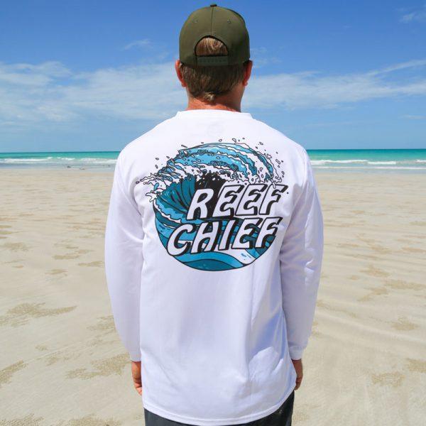 wearing ocean wave shirt